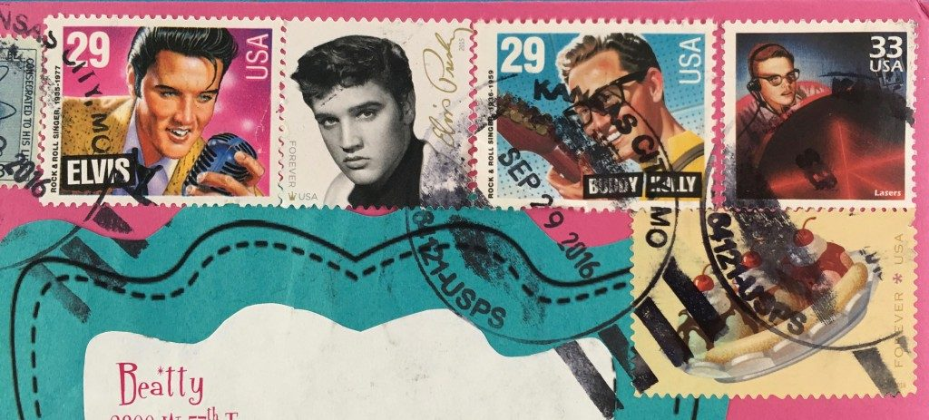 Vintage stamps were used to mail the invitations to YW and leaders