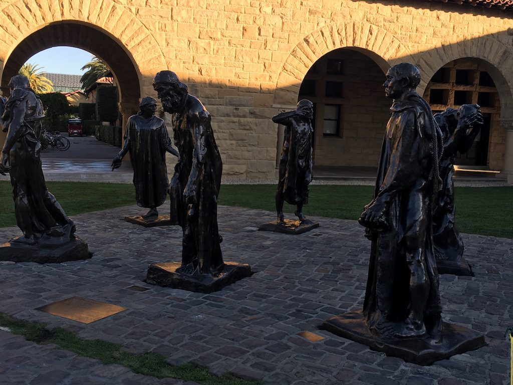 Rodin's Burghers of Calais on Stanford Campus