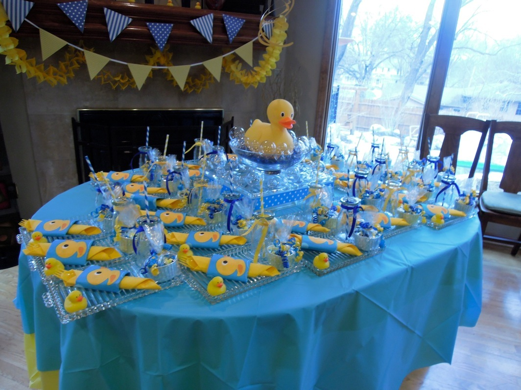 view of table with luncheon plates for rubber duck theme shower