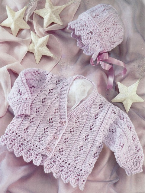 Machine Knitting Patterns For Babies : Baby Cardigan, Baby Bonnet, Knit, knitting pattern, cute baby sweater and bon...